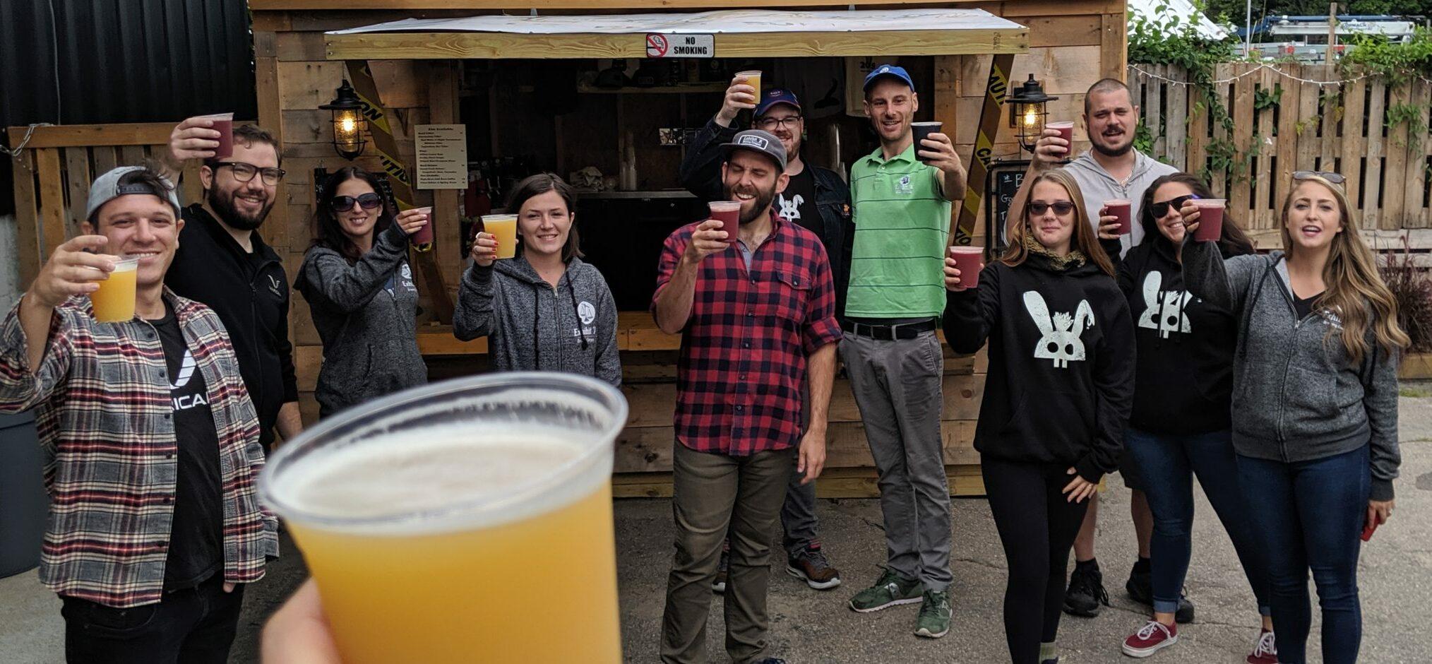 Photo showing the beer garden staff